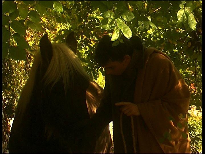 Le Muet. Matthieu Denis parle à son cheval, Luciole.